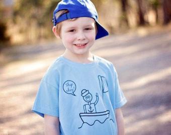 Kids sailor shirt, nautical shirt, boat shirt, Ship ahoy, sea shirt, kids anchor shirt, sailing shirt, pirate shirt, ocean shirt, birthday