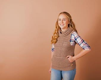 Crochet vest pattern, Crochet sweater pattern, crochet pattern, Cowl vest, instant download, one piece, easy crochet pattern