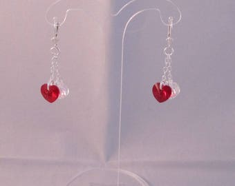Earrings silver 925 and crystal of Swarovski light siam