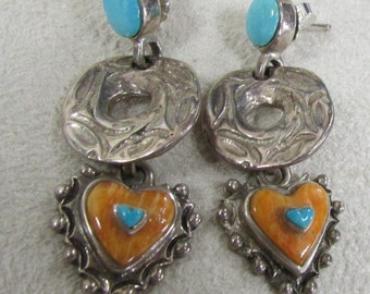 Sterling Silver Heart Earrings with Spiny Oyster Shell and Turquoise