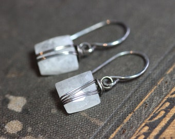 Moonstone Earrings Silver Wire Wrapped White Gemstone Earrings Sterling Silver