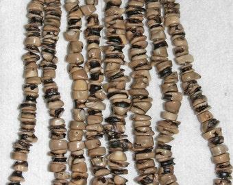 Coral, Natural Coral, Coral Rondelle, Coral Chip, Beige Black, Half Strand, 10-14mm, Bead