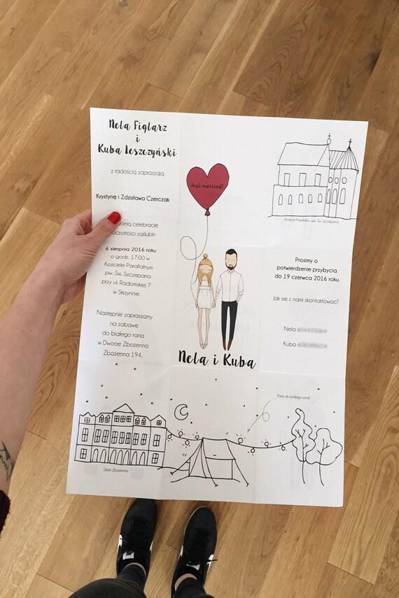 Personalised wedding invitations portrait illustration