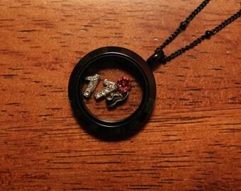 25mm Medium Black Stainless Steel glass locket, memory locket for floating charms