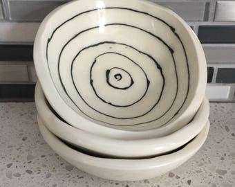 small white spiral bowl