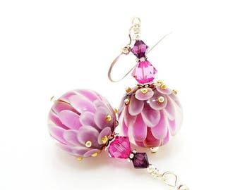 Pink Earrings, Lotus Flower Earrings, Lampwork Earrings, Glass Bead Earrings, Unique Earrings, Glass Bead Jewelry, Flower Earrings