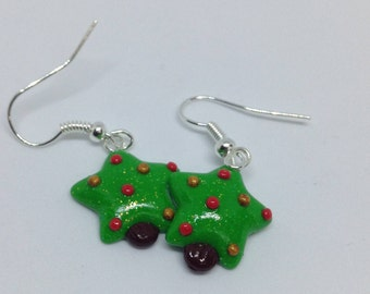 Red and Gold Christmas Tree Dangle Earrings