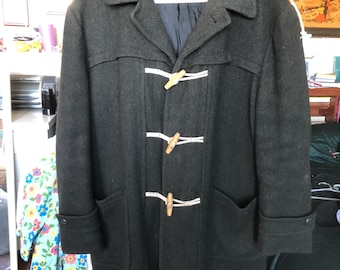Vintage Rare Dark Grey 1940s Hooded Military Issue Duffle Coat Gorgeous!