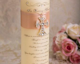 Personalized Memorial Candle Blush Memory Candle Remembrance Candle Church Wedding Custom Memorial Candles