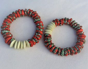 Marbled Ghana Glass (Red) and Ashanti Glass Disk Beaded Stretch Bracelet (14mm)