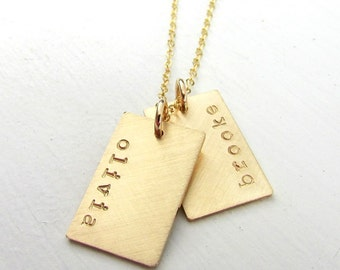 Gold Dog Tag Necklace | Gold Name Necklace | Double Pendants | Engraved Hand Stamped Name Charms | Gold Name Charms | 14K GF | Personalized