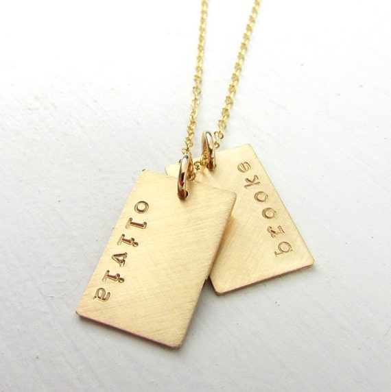 Gold dog tag necklace gold name necklace double pendants gold dog tag necklace gold name necklace double pendants engraved hand stamped name charms gold name charms 14k gf personalized aloadofball Choice Image