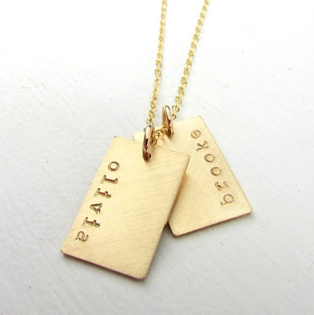 Gold Dog Tag Necklace Gold Name Necklace Double Pendants