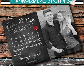 Any Color SAVE THE DATE Calender Heart Vintage Wedding Burlap Chalkboard Red Coral Bbq Wedding Engagement Baby Bridal Shower Invitation