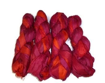 Huge Premium  Sari Silk Ribbon, Irredescent Fire Red Mix