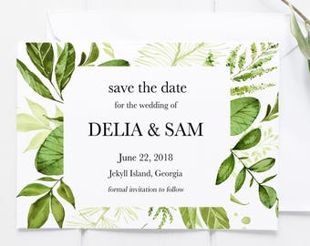 Greenery Save the Date, Printable Save the Date, Botanical Save the Date, Save the Dates, Save the Date Card, Greenery Wedding Invitation