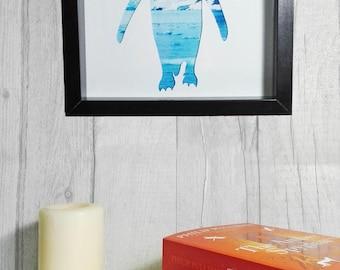 Paper Cut Penguin Framed Artwork