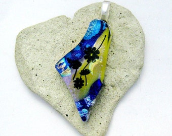 Fused Glass Jewelry -  Flower Pendant