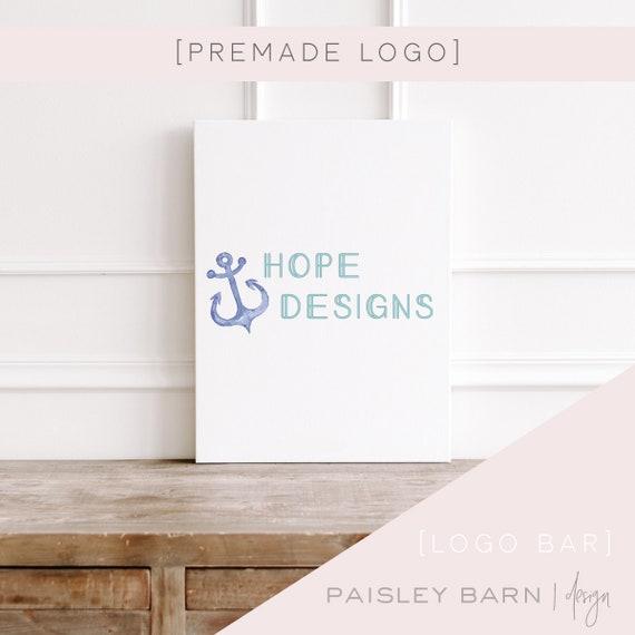 Simple Logo | anchor, premade logo, logo design, minimalist, light, nautical, design studio, photographer, watercolor