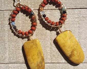Yellow jasper earrings// Jasper earrings // wire wrapped earrings // Gemstone earrings