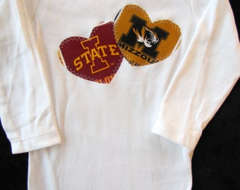 Baby Rival Hearts Snap Bodysuit with Missouri and Iowa State fabric