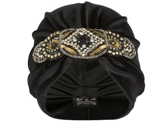 Black Velvet Turban with Intricate Bold Detail