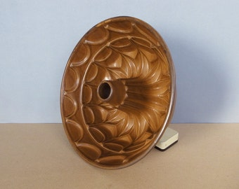 Vintage Ceramic Bundt Pan / Large Pudding Mold Ocher Brown Stoneware