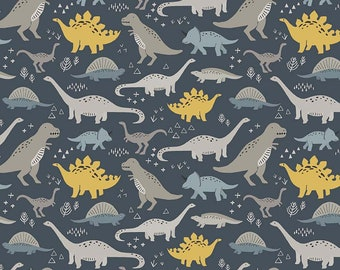 FOSSIL RIM Fabric, Fossil Main in Navy, Riley Blake, Dinosaur Quilt, Fabric, Boys Quilt,  Cotton Fabric, Quilting, Fabric By the Yard