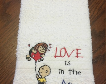 Love is in the Air-Hand Towel/Valentines Gift