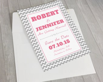 Elegant Typography Chevron Save the Date Cards