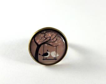 Ring adjustable married love birds vintage retro