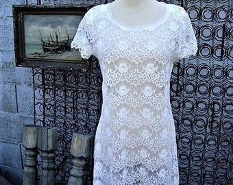 Vintage Sheer White Lace Tunic Top Size S