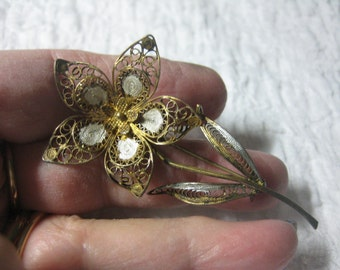 Antique  Flower Pin Filigree Sterling Vermeil Filigree with Enamel Accents