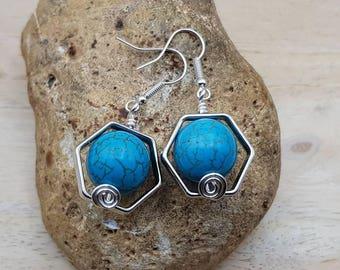 Turquoise Hexagon earrings. Reiki jewelry uk. December Birthstone. Silver plated Hexagonal geometric earrings. 14mm stones