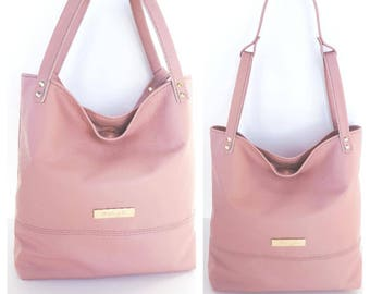 Genuine leather handbag shoulder bag purse, Blush Pink Color
