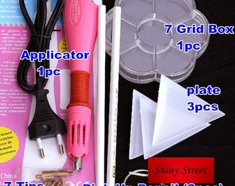 DIY hot fix tool set 1 hotfix applicator with 7 tips, 7 grid box, 2 pick up pencils, 3 plates
