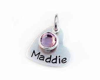 Name Pendant with Birthstone - Personalized Charm - Aluminum Pendant - Name Charm - Hand Stamped