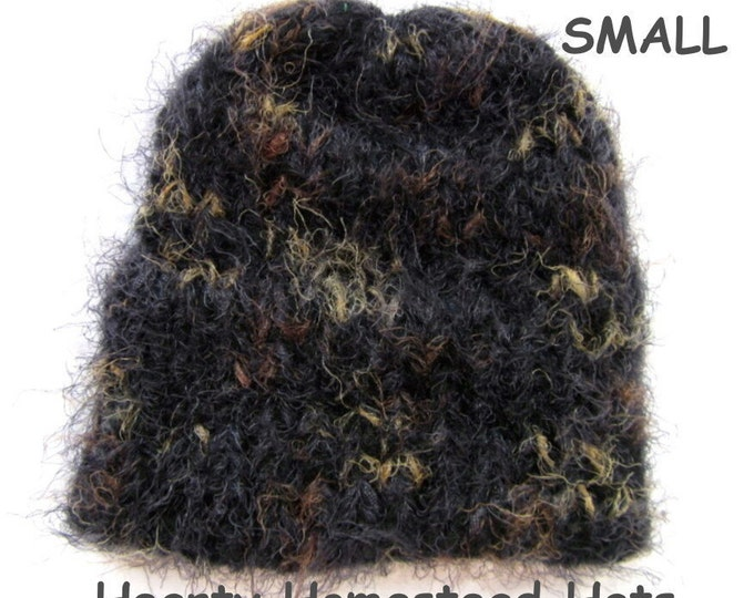 Hearty Homestead Hat - thick handknit hats with double layered hem brim - YOUTH SMALL
