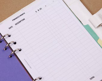 Monthly expenses tracker, budget planner inserts, A5 planner inserts, Filofax inserts, spending tracker