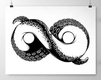 Infinity Tentacle Print (297 x 420mm | 11.7 x 16.5 inches), Infinity Wall Art, Tentacle Print, Black and White Art, Original Illstration