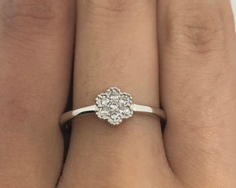 Brooklyn Line Micro Cubic Zirconia Crystal Sterling Silver Band ring
