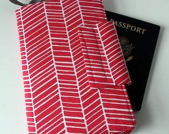 Travel wallet, Passport Organizer, Smart phone Wallet,Pink Herringbone and Hot Pink dot lining In stock ships ASAP