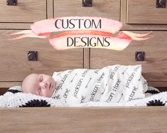 Personalized Baby Blanket with Arrows / Personalized Baby Swaddle Blanket Custom Baby Name Blankets Custom Name Baby Blanket Arrows