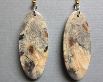 Buckeye Burl Large Dangle Exotic Wood Earrings Handmade ExoticWoodJewelryAnd ecofriendly