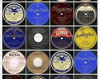 Vintage Record Labels Digital Download Collage Sheet 2 x 2 inch
