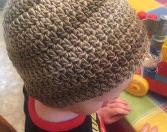 Men Boy Baby Girl Women Hat Crocheted Colorful Striped Winter Wool Hat Beanie Unique All Sizes Newborn to Adult Sandstone