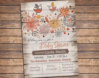Rustic baby shower invitation, Feather the Nest invitations, Bird Baby Shower Invitation, Feather her Nest Invite