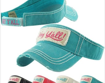 Hey Y'all embroidered, distressed women's visor