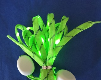 Lighted shoelaces, battery operated LED flashing lights   Lighted shoelaces  Green or blue led lights