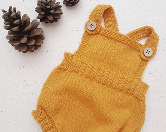 Knitted baby romper, christening outfit, baby boy romper, newborn romper, baby romper, gender neutral baby, summer romper, baby romper